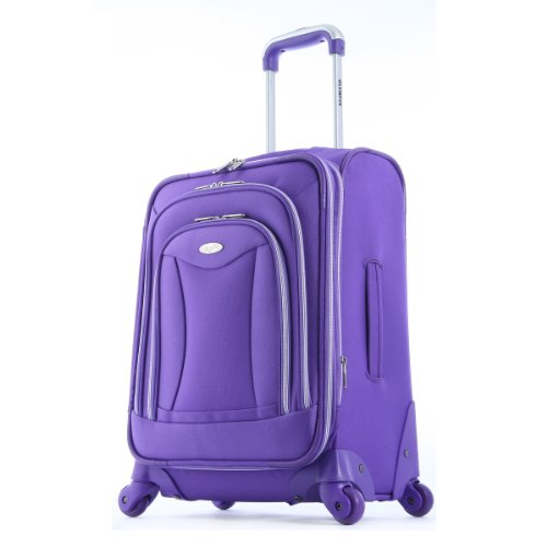 Olympia Luggage Luxe 21 Inch Expandable Carry-On Upright Bag, Plum, One Size