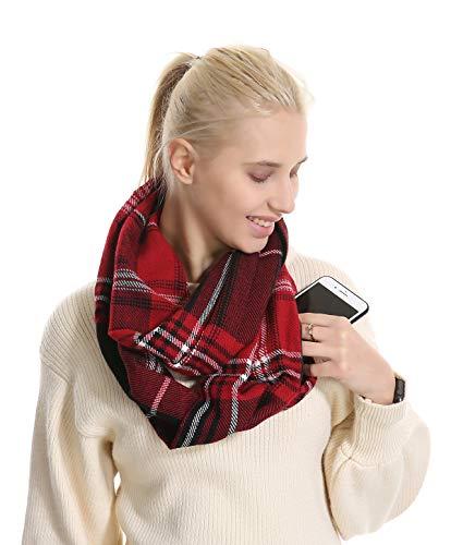 Plaid Travel Pocket Infinity Scarf - Tartan Women Men Convertible Zipper Hidden Scarf lightweight Buffalo Scarves Security Plain Passport Purse classic Fashion Scarves For Spring Winter