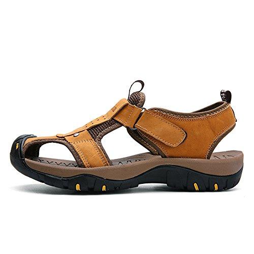 da Sandalo le uomo morbido a antiscivolo Dimensione EU 39 sportivo Mens per 2018 chiusa morbido all'aperto vera spiaggia Giallo scarpe in chiuso pelle shoes Color in punta passeggiate qCEIUxxAw