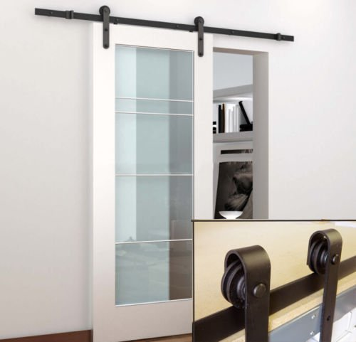 A-Smart® Black 6.6 Ft Steel Sliding Barn Door Hardware Kit Rail Track Set Fit Wooden Wall and Concrete Wall