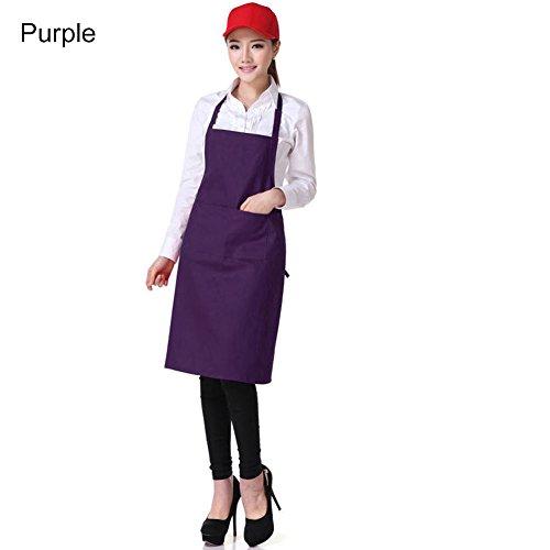 Baost Unisex Adjustable Kitchen Chef Apron with Pocket Men Women Cooking Bib Apron Restaurant Bakery Chef Smocks for Cooking, Baking, Crafting, Work Shop, BBQ, Machine Washable Purple