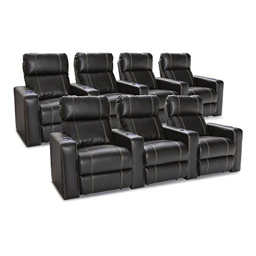 Seatcraft 227E511613R3R4-V2 Dynasty recliners, 1 Row of 3, 1 Row of 4, Black