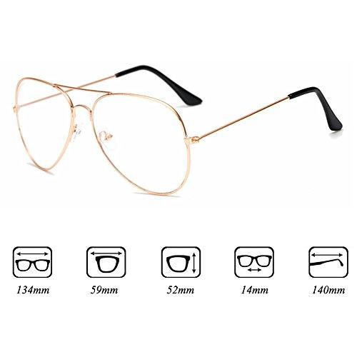 Fille Garçon lunettes Aviator - Verres à lentilles transparentes Cadre Geek / Nerd Eyewear Lunettes avec boîtier en forme de voiture - hibote Or avec lentille transparente
