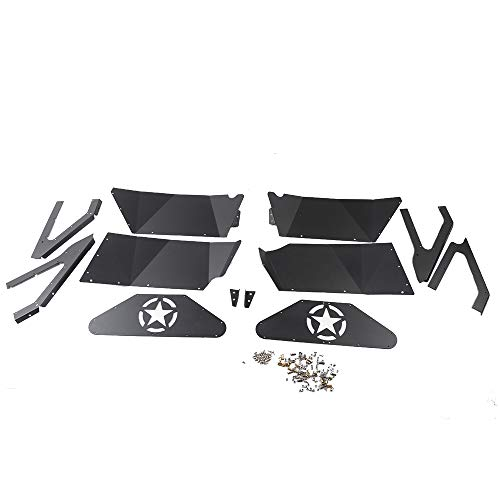 OMUOFFROAD Jeep Wrangler Rear Inner Fender Liners for 2007-2017 Jeep Wrangler JK 4WD Five Star logo Lightweight Aluminum Design Black ()
