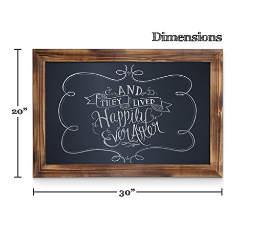 HBCY Creations Rustic Torched Wood Magnetic Wall Chalkboard, Extra Large Size 20'' x 30'', Framed Decorative Chalkboard - Great for Kitchen Decor, Weddings, Restaurant Menus and More! … (20'' x 30'') by HBCY Creations (Image #1)