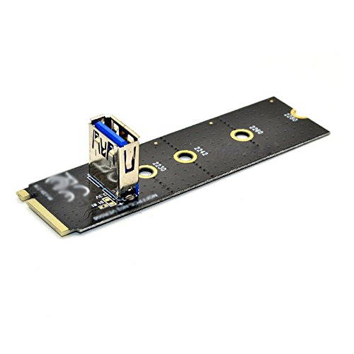 5PCS Tekit NGFF M.2 to USB 3.0 PCI-E Riser Card M2 Slot Extender Adapter for BTC//ETH Mining,NGFF M.2 to PCI-E X16 Slot Transfer Card Mining Pcie Riser Card VGA Extension Cable