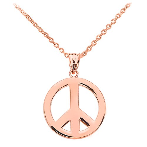 High Polish 14k Rose Gold Circle Of Peace Sign Symbol Pendant Necklace, 18