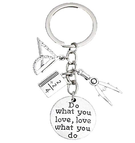 (FTH Math Teacher,MIT Student Keychain.Geometry Protractor,Compass,Arc to Measure Angles,& Ruler.Unique Gift The Genius in Your Life!)