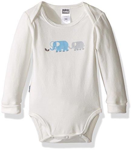 Kushies Baby Boys' Mix N Match Long Sleeve Bodysuit, Ecru/Elephants 01M