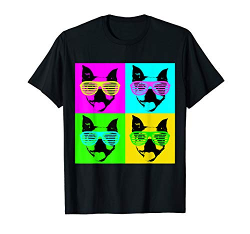 Boston Face Terrier - Boston Terrier Sunglasses Neon Party Dog Shirt