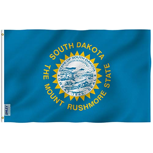 Anley Fly Breeze 3x5 Foot South Dakota State Flag - Vivid Color and UV Fade Resistant - Canvas Header and Double Stitched - South Dakota SD Flags Polyester with Brass Grommets 3 X 5 Ft Brass Dakota Dakota Single