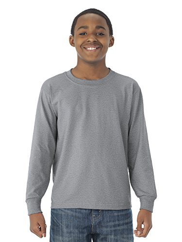 Jerzees 29BL Youth Heavyweight Blend Long-Sleeve T-Shirt, Athletic Heather, Extra Large (Jerzees Blend Youth Heavyweight)