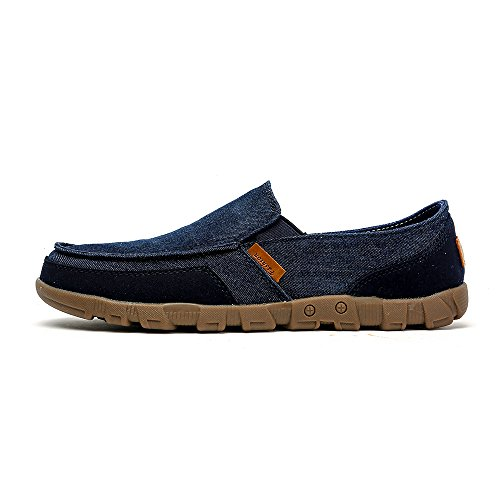 VILOCY Mens Canvas Lightweight Boat Shoes Low Top Slip-On Driving Loafers Comfort Flats Blue X0rQqqpgE