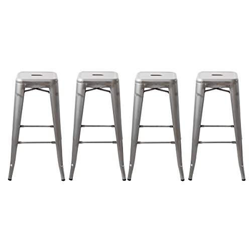 Buschman 30 Inch Galvanized Metal Bar Stools, Set of 4, Indoor/Outdoor, (Stool Bistro Bar Set)