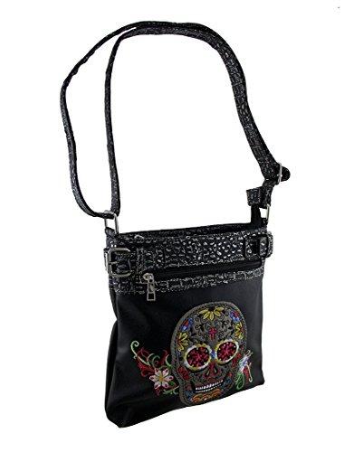 Sugar Womens Bag - Embroidered Sugar Skull W/Floral Trim Concealed Carry Crossbody Purse (Black) Vinyl Womens Cross Body Bags Black