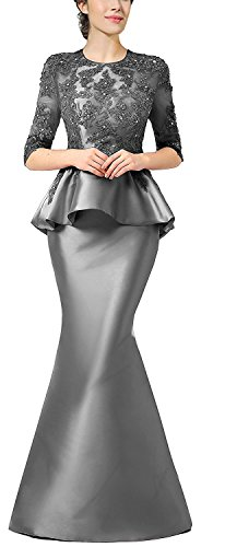 [Women`s evening dress with beaded lace peplum Silver US24W] (Plus Size Evening Wear)