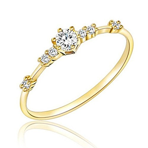 Haluoo Women Eternity Ring Fashion Thin Cubic Zirconia Anniversary Wedding Engagement Band Plating Promise Rings Size 5 to 10 (9, Gold) - Dimension 5th Club
