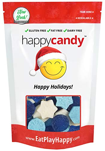 Happy Candy Gummi Snowflakes - Pineapple, Watermelon & Blue Raspberry - Gluten Free, Fat Free, Dairy Free - Resealable Pouch (1 Pound)