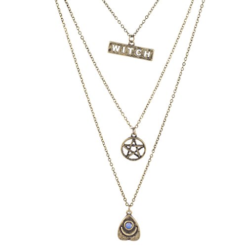 Lux Accessories Burnished Gold Witch Wiccan Pentagram Opal Layered Necklace (Burnished Gold Finish Pendants)