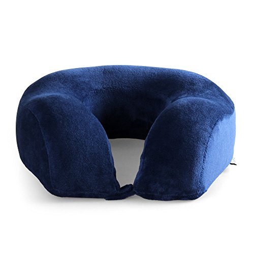 Cozy Hut Easy to Carry Memory Foam Travel Neck & Cervical Pillow, Head Chin and Neck Support Washable Micro-Fiber Cover with Storage Bag, Navy Blue by Cozy Hut (Image #1)
