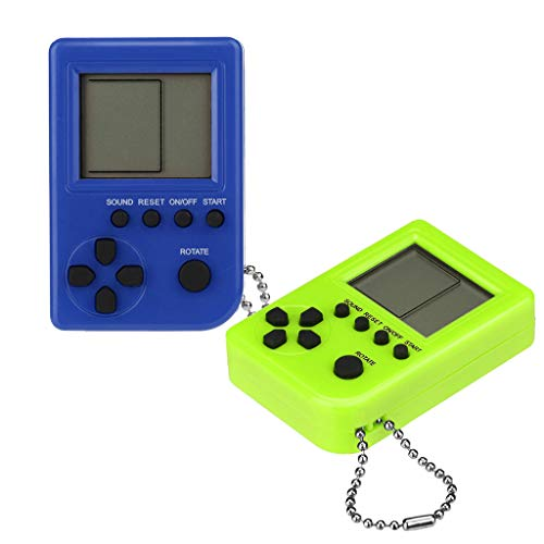 Cywulin Retro Mini Keychain Pendant Game Tetris Game Console Toy 2 PC Packaging Toys Built-in 26 Games Travel Portable Gaming System Electronics Machines Gaming Gift Present for Boy Kids (A) ()