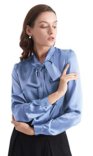 LilySilk Bow-tie Neck Silk Blouse for Women Long Sleeve Ladies Tops Buttons VintageReal Silk Shirts (French Blue, S/4-6)