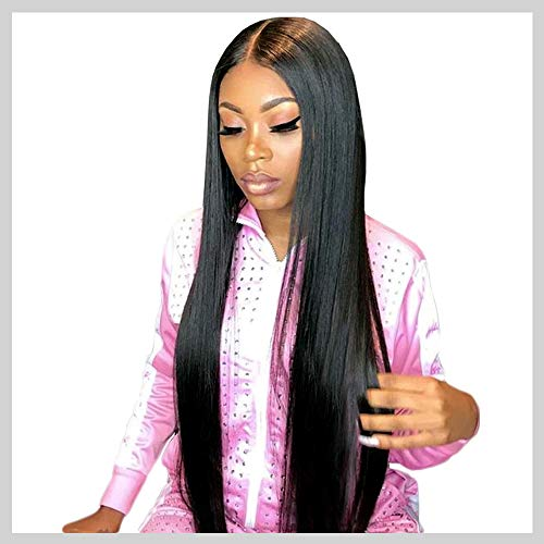 Straight Wigs Human Hair, VIPbeauty 130% Density Glueless Brazilian Virgin Straight Human Hair Lace Frontal Wig for Black Women with Pre Plucked Baby Hair(24