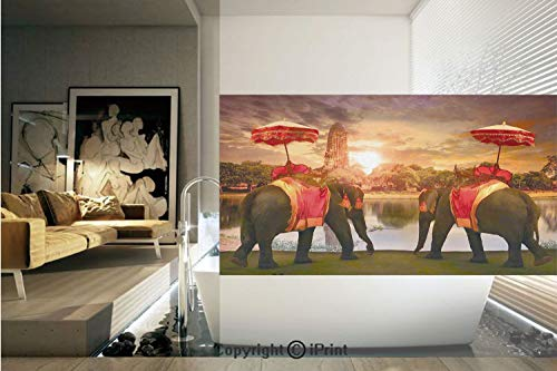 Decorative Privacy Window Film/Animals Dressing Traditional Costumes Standing in front of Pagoda Patience Symbol Print Decorative/No-Glue Self Static Cling for Home Bedroom Bathroom Kitchen Office -