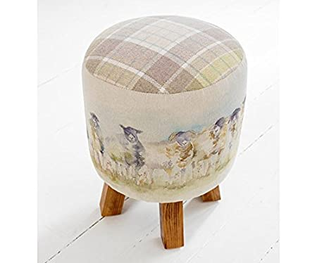 Come By Sheep Scottish Highlands Monty Footstool | Cotton | Linen | Wool By  Voyage Maison