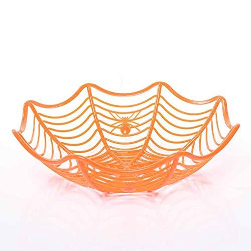 YYi-kuG Plastic Spider Web Fruits Candy Basket Spider Web Bowl Halloween Party Decor (Color : -
