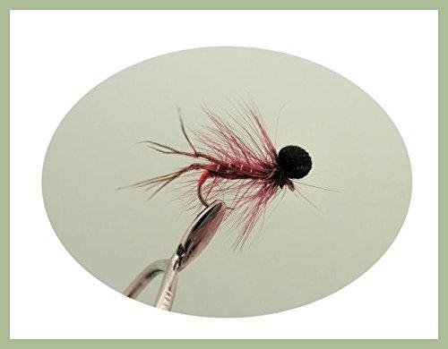 Taille 10//12 Olive Bobby Hopper Lot de 16 mouches pour p/êche /à la truite bordeaux et orange noir