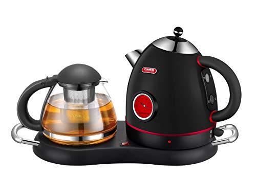 NEW DESIGN Tea/Coffee Maker, Cordless Electric Stainless Kettle Set with Water Level Indicator, Keep Warm Tray, Boil Dry protection & Auto Shut Off (Black)