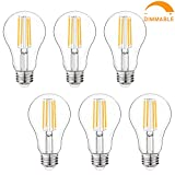 Dimmable LED Light Bulbs, 100W Equivalent Filament Edison Bulbs, A21 Vintage LED Blubs Warm White, Medium Screw Base (E26), 1100 Lumens, 6-Pack (2700K)