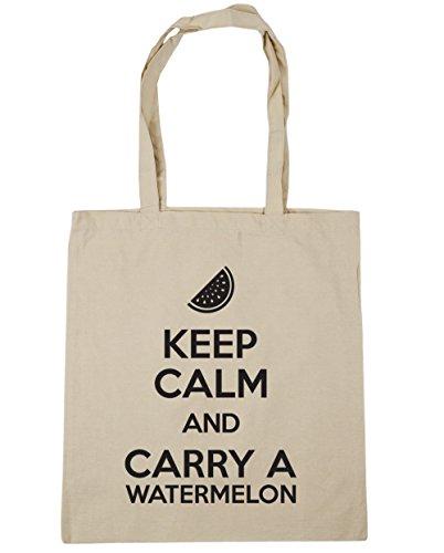 HippoWarehouse Keep calm and carry a sandía bolsa de la compra bolsa de playa 42cm x38cm, 10litros Natural