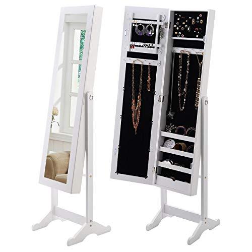 (WATERJOY Jewelry Cabinet Lockable Free Standing with Mirror Jewellery Box Armoire Storage Organizer White)