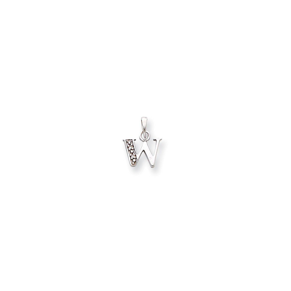 Jewelry Stores Network 14K White Gold Polished .01Ct Diamond Initial W Charm 15x8mm