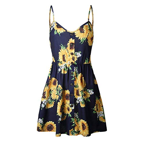 ♡QueenBB♡ Women's V Neck Floral Spaghetti Strap Summer Casual Swing Mini A Line Dress with Button Summer Casual Navy