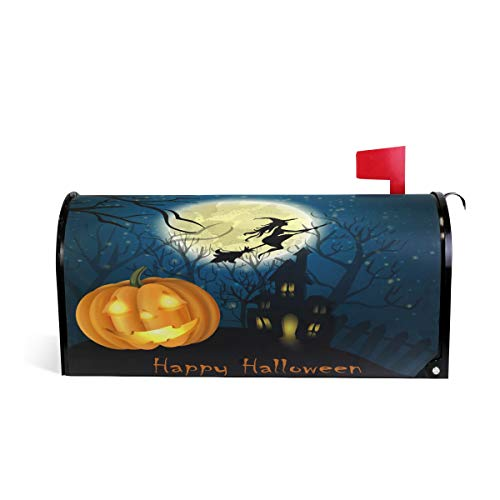 Naanle Halloween Winter Holiday Magnetic Mailbox Cover, Halloween Witch on The Full Moon Mailbox Wrap Home Decorative for Standard Size 20.8