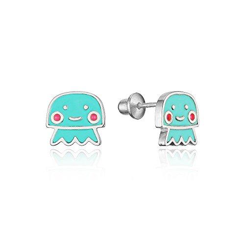 925 Sterling Silver Rhodium Plated Enamel Baby Jelly Fish Screwback Baby Girls Earrings