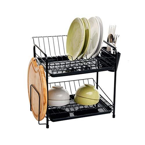 (DYR Cutlery Rack Double Crockery Basket Drip Tray Holder Dining Basket Crockery Basket Multifunction Metal Black with drip Tray)
