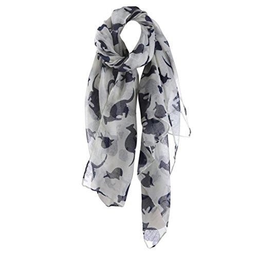 DDLBiz Women Kangaroo Pattern Long Scarf Warm Shawl Fashion Scarves (White)