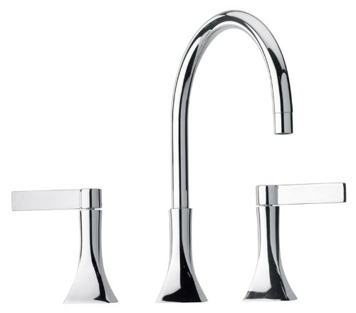 Jewel Faucets 17214  Chrome Two Blade Handle Widespread Lavatory Faucet with Goose Neck Spout ()