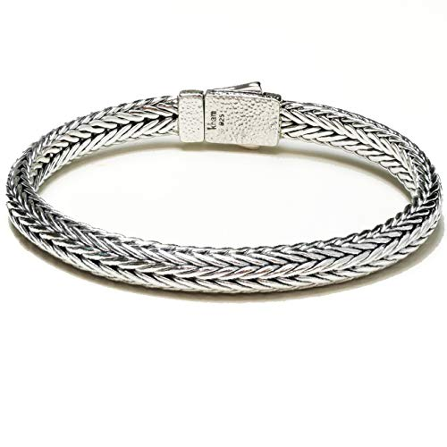 (8.4mm Men Braided Bracelet Handcraft 925 Sterling Silver Woven Chain Bracelet Bali Style Length 8.5,9 inches (9))