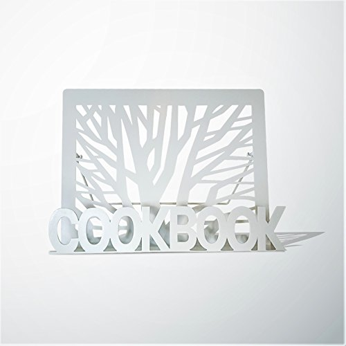 Cookbook Holder Recipe Book Stand - White Metal Tree Design by Uniqq