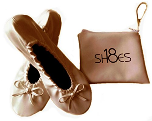 Shoes 18 Women's Foldable Portable Travel Ballet Flat Shoes w/Matching Carrying Case Nude sh18 ()