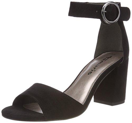28368 Bride Tamaris Femme Noir Uni Sandales black Cheville fqxxwad7