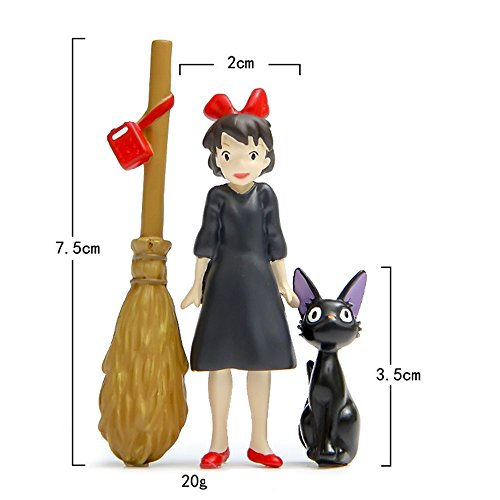 (Kiki's Delivery Service Collective Figures, Studio Ghibli Miyazaki Kiki's Delivery Service Black Cat Girl With Broom Action Figure Toys For Children Gift For Miniature Garden Decoration)