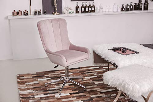 Furnirfun Pink Height-Adjustable Swivel Vanity Chair Dressing Room Chair, Deluxe Upholstered Fabric and Metal Seat for Make up, Beauty Nail Salon, Spa, Living Room Room