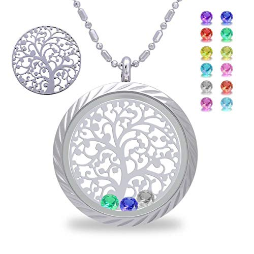 (Family Tree of Life Floating Living Memory Locket Pendant Necklace with Birthstone, All Charms Included (Stainless-Steel-Engraving))