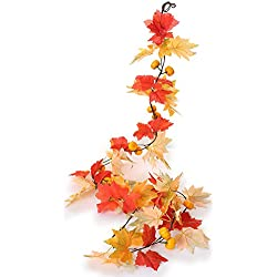 Greentime 2 Pcs Artificial Flowers 6.6ft/pc Autumn Vines With Mine Simulation Pumpkins Fall Maple Leaves Garland for Wedding Party Home Garden Wall Decoration
